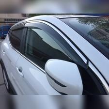 Дефлекторы, ветровики окон с нержавеющим молдингом Nissan Qashqai 2014 - нв (комплект)