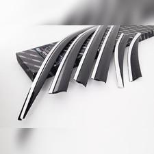 Дефлекторы окон Kia Sorento Prime 2015 - нв, комплект из 6-ти частей (темные с хром молдингом)