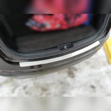 Накладка на задний бампер с загибом (сталь) для Santa Fe 3 рестайлинг