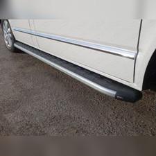 Пороги алюминиевые с пластиковой накладкой (карбон серебро) длинная база 252 см