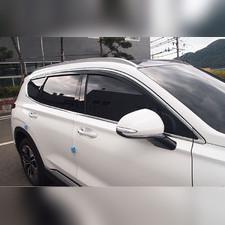 Дефлекторы окон Hyundai Santa Fe 2018 - нв, комплект из 6-ти частей (темные с хром молдингом)