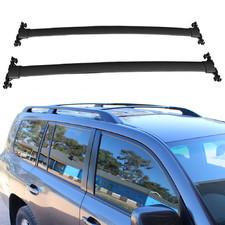 Поперечины на рейлинги Toyota Land Cruiser 200 черные (на штатные рейлинги)