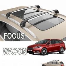"""Багажник Focus 3 2011-2018 универсал, аэродинамический на интегрированные рейлинги с замком """"Air 2"""""""