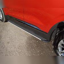 """Пороги алюминиевые """"Slim Line Silver"""" 1820 мм Hyundai Santa Fe 2018-2020"""