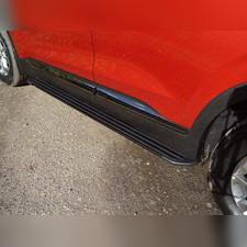 """Пороги алюминиевые """"Slim Line Black"""" 1820 мм Hyundai Santa Fe 2018-2020"""
