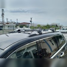 Багажник аэродинамический на рейлинги с замком для Jeep Grand Cherokee (серые)