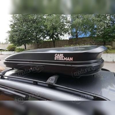 """Бокс аэродинамический чёрный карбон """"Avangard"""" двухсторонние открытие, 200х85х36см, 430 л"""