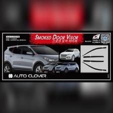 Дефлекторы, ветровики окон Hyundai Santa Fe 2012 - 2017, комплект из 4-х частей (темные)