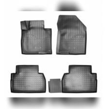 Коврики в салон (черные) 3D для Hyundai Santa Fe 3D (2018-) (5 мест)