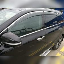 Дефлекторы окон с нержавеющим молдингом Hyundai Santa Fe 2018 - нв (комплект)