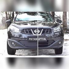 Зимняя заглушка решетки переднего бампера Nissan Qashqai 2011-2014