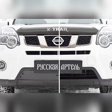 Зимняя заглушка решетки переднего бампера Nissan X-trail 2011-2015 (T31) рестайлинг