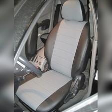 Авточехлы из экокожи для Mitsubishi L200 2007 - 2013 (Черный + темно-серый) Комплект