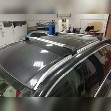 Поперечины на интегрированные рейлинги с замком BMW X6 2014-нв (аэродинамические, серебристые)