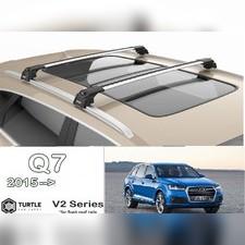 Багажник с замком на оригинальные рейлинги Audi Q7 2015-нв (серебристый)