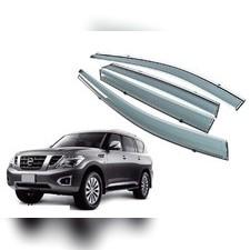 Дефлекторы, ветровики окон с нержавеющим молдингом Nissan Patrol 2014 - нв (комплект)
