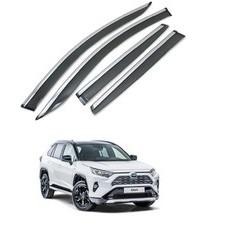 Дефлекторы, ветровики окон с нержавеющим молдингом Toyota Rav-4 2019 - нв (комплект)