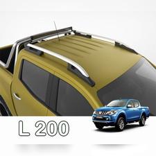 """Рейлинги на Mitsubishi L200 2015-нв, модель """"Falcon Silver"""" с задней поперечиной"""
