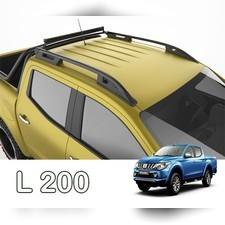 """Рейлинги на Mitsubishi L200 2007-2015, модель """"Falcon Black"""" с задней поперечиной"""