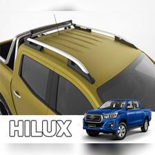 """Рейлинги на Toyota Hilux Revo 2015- нв, модель """"Falcon Silver"""" с задней поперечиной"""