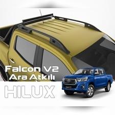 """Рейлинги на Toyota Hilux Revo 2015- нв, модель """"Falcon Black"""" с задней поперечиной"""