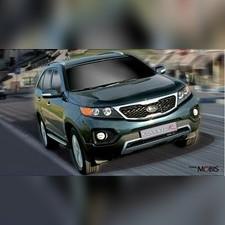 """Накладка на передний бампер Kia Sorento XM 2009 - 2012 """"Mobis"""" (2PF31AQ010) Серебристая"""