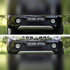 Защитная сетка и заглушка переднего бампера Mitsubishi L200 2015-2018