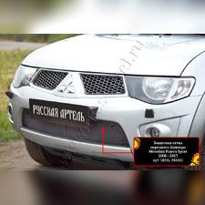 Защитная сетка и заглушка решетки переднего бампера Mitsubishi Pajero Sport 2008—2013