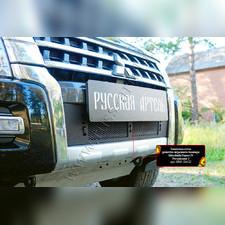 Защитная сетка и заглушка решетки переднего бампера Mitsubishi Pajero IV 2014- (рестайлинг 2)
