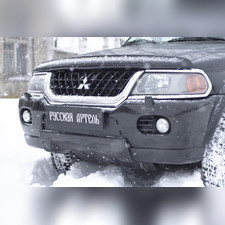 Зимняя заглушка решетки переднего бампера Mitsubishi Pajero Sport 1998-2004