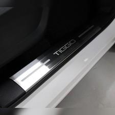 Накладки на пластиковые пороги (лист шлифованный надпись Tiggo) 4шт Chery Tiggo 7 PRO 2020