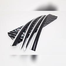 Дефлекторы окон Kia Sportage 2016-2021, комплект из 4-х частей (темные с хром молдингом)