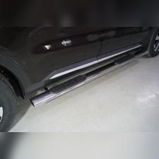 Пороги овальные с накладкой 120х60 мм Kia Sorento 2020