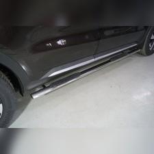 Пороги овальные с накладкой 75х42 мм Kia Sorento 2020