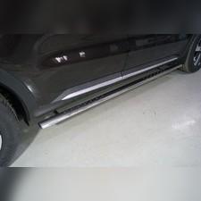 Пороги овальные с проступью 75х42 мм Kia Sorento 2020