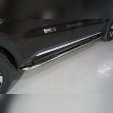 Пороги овальные гнутые с накладкой 75х42 мм Kia Sorento 2020
