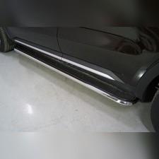 Пороги с площадкой (нерж. лист) 42,4 мм Kia Sorento 2020