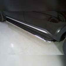 Пороги с площадкой (нерж. лист) 75х42 мм Kia Sorento 2020