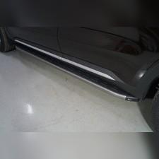 Пороги алюминиевые с пластиковой накладкой (карбон серые) 1820 мм Kia Sorento 2020