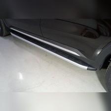 Пороги алюминиевые с пластиковой накладкой (карбон серебро) 1820 мм Kia Sorento 2020