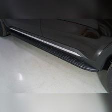 Пороги алюминиевые с пластиковой накладкой (карбон черные) 1820 мм Kia Sorento 2020