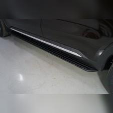"Пороги алюминиевые ""Slim Line Black"" 1820 мм Kia Sorento 2020"