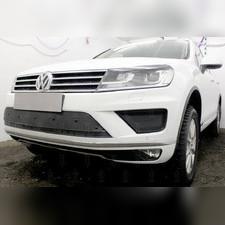 Защита радиатора центральная Volkswagen Touareg II 2014-н.в. PREMIUM зимний пакет