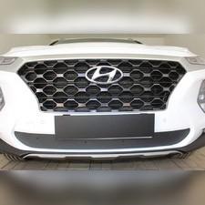 Зимняя защита на стяжке нижняя Hyundai Santa Fe 2018- с датчиком ACC
