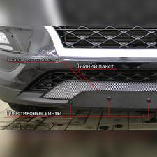 Защита радиатора с вырезом под ДХО Renault Duster 2011-2014 PREMIUM зимний пакет