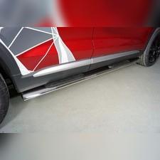 Пороги овальные с накладкой 120х60 мм для Geely Tugella 2020-н.в.