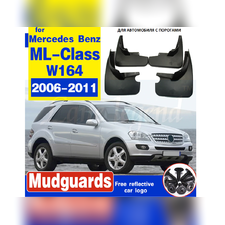 Брызговики Mercedes-Benz M 2006-2011 (W164) с порогами (OEM) комплект 4 шт