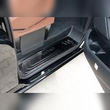 Накладки на внутренние пороги с логотипом, черный хром, Mercedes Vito W447 2014-нв(3 шт, нержавейка)