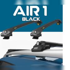 """Багажник аэродинамический на рейлинги с замком Cadillac SRX 2010 - 2018 """"Air Black"""""""