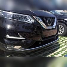 Накладка на передний бампер Nissan Qashqai 2017-2021 (полированная нержавеющая сталь)